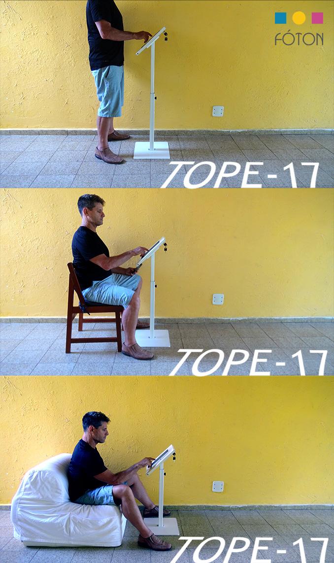 Suporte para Tablets em 3 posições, de pé, sentado em cadeira, sentado em poltrona